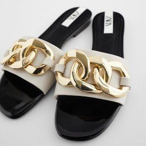 Zara Gold Chain Sandals
